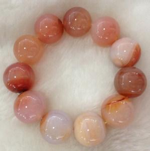 正品天然水晶手链男士多彩裸色粉红玛瑙手串男女款大珠子佛珠20mm