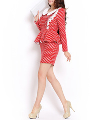 Retro spring of Mambo ~2015 new polka dot dresses with lace frills commuter white collar long sleeve wool