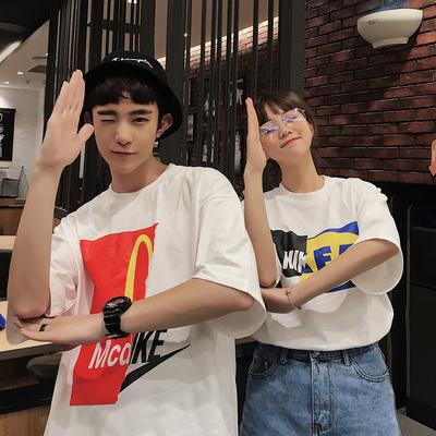 情侣装 ins恶搞印花设计情侣宽松短袖T恤 H353 P38(女类)