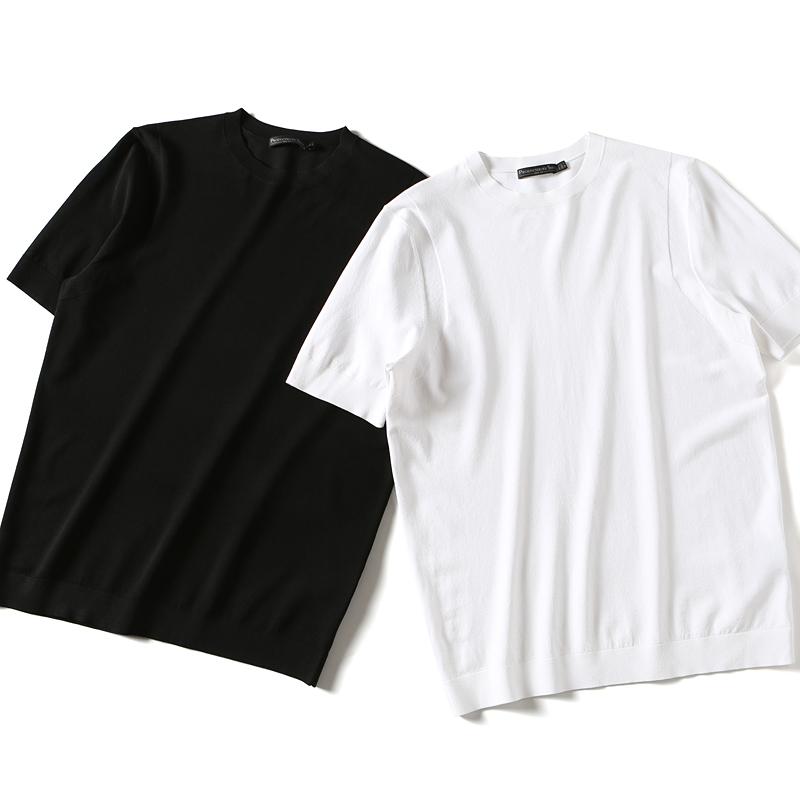 夏季新品 横机进口纱  男士商务休闲基础款圆领短袖T恤修身半袖衫