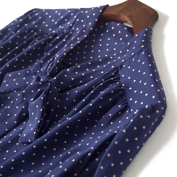 几何三角形印花 桑蚕丝飘带蝴蝶结七分袖真丝衬衫女