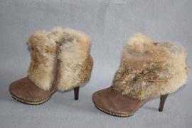 纯羊毛内里保暖棉靴细高跟短筒羊皮女靴真皮真毛皮毛一体2978053