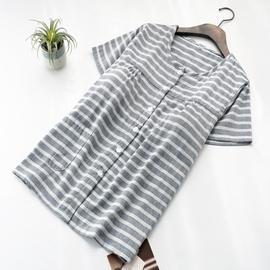 日系条纹带胸垫睡衣上装女士夏季纯棉纱布薄款短袖单件家居服上衣图片