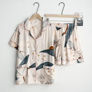 印花ins睡衣女士夏季人造棉薄款绵绸人棉短袖短裤开衫家居服套装