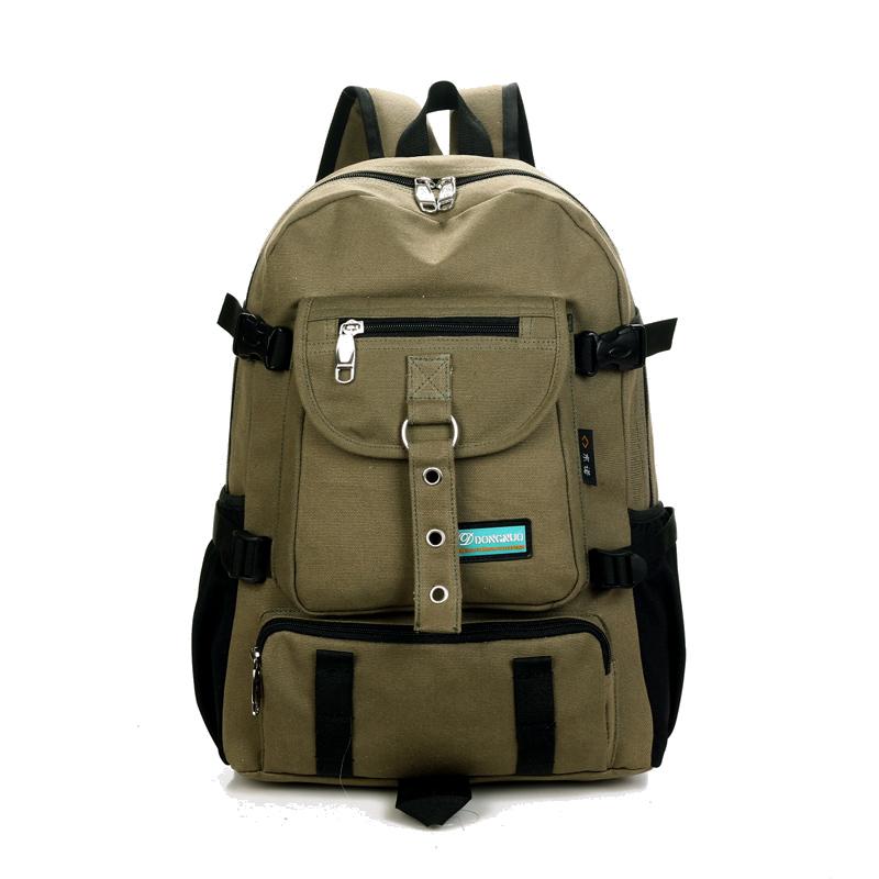 Холщовый рюкзак на молнии с крупными накладными карманами