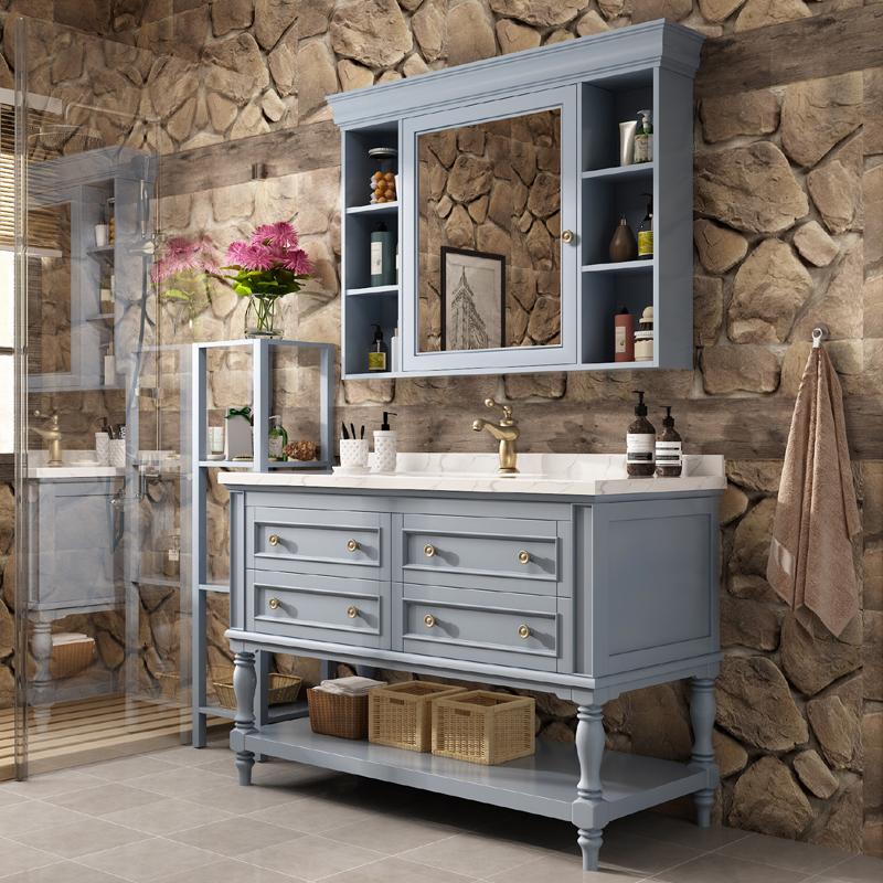 卫浴美式橡木浴室柜组合洗脸洗手面盆池实木卫生间洗漱台盆落地式