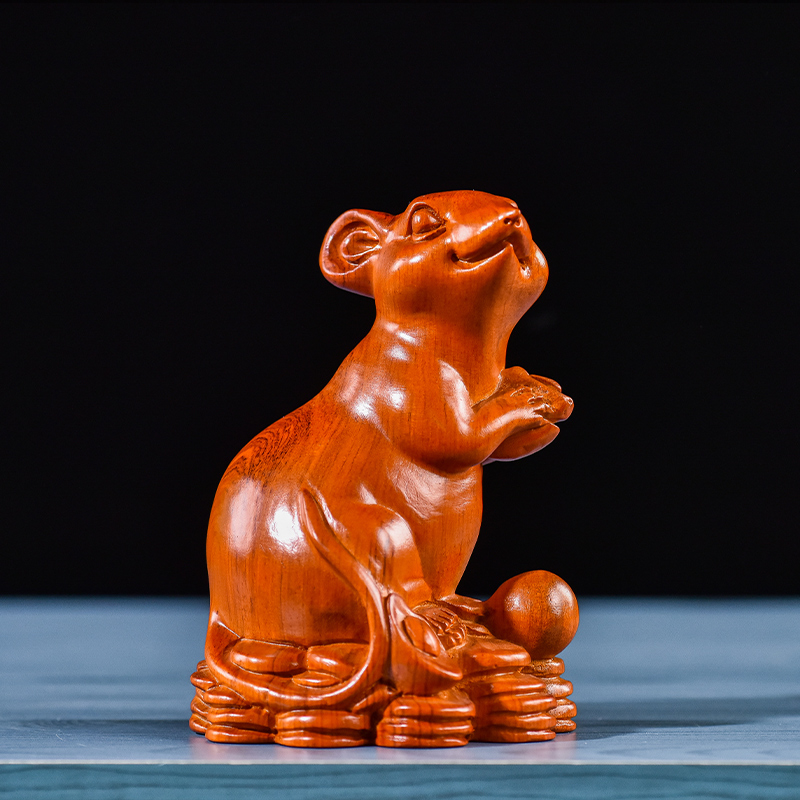 十二生肖全套木雕鼠牛虎兔龙蛇马羊猴鸡狗猪招财摆件收藏价值礼品