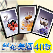 Flowers wine has draw hotel restaurant wall decoration painting hangs a picture box With contemporary and contracted glass pictures