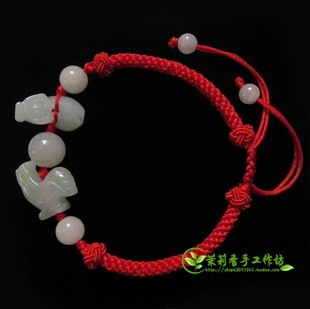 Ram evil Jade hand woven bracelets hand jewelry zodiac animal cow and chicken triple red string