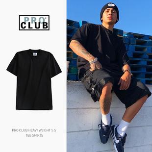 PROCLUB美国潮牌hiphop嘻哈宽松大码 纯色打底重磅短袖 t恤男西海岸