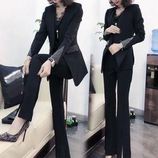 2020秋季新款时尚女装抖音爆款两件套烫钻洋气显瘦漂亮西装套装女