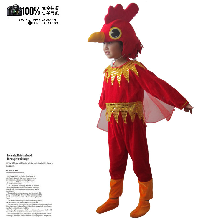 Red rooster, chick, childrens role performance costume, big rooster, animal costume, performance costume, childrens role performance Costume