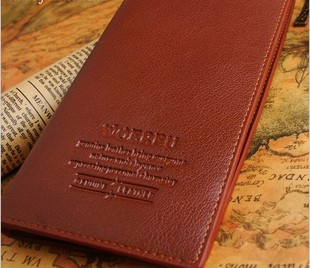 New Korean version of the influx of men leather leather money card bit long paragraph wallet soft leather purse money