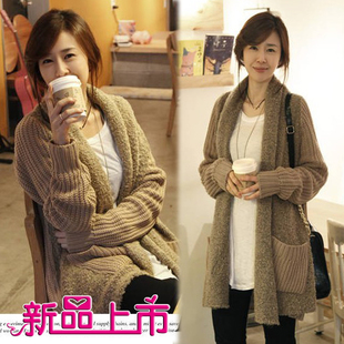 Korean version of the fall and winter maternity new large size was thin stitching knit sweater and long sections of pregnant women pregnant women cardigan jacket