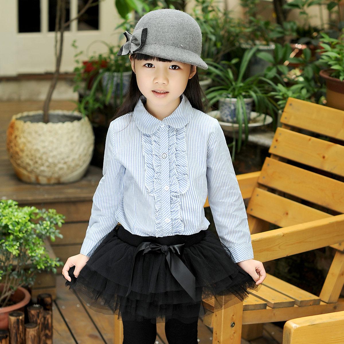 女童秋装新款纯棉衬衣儿童长袖天蓝色翻领女大童装学院风条纹衬衫