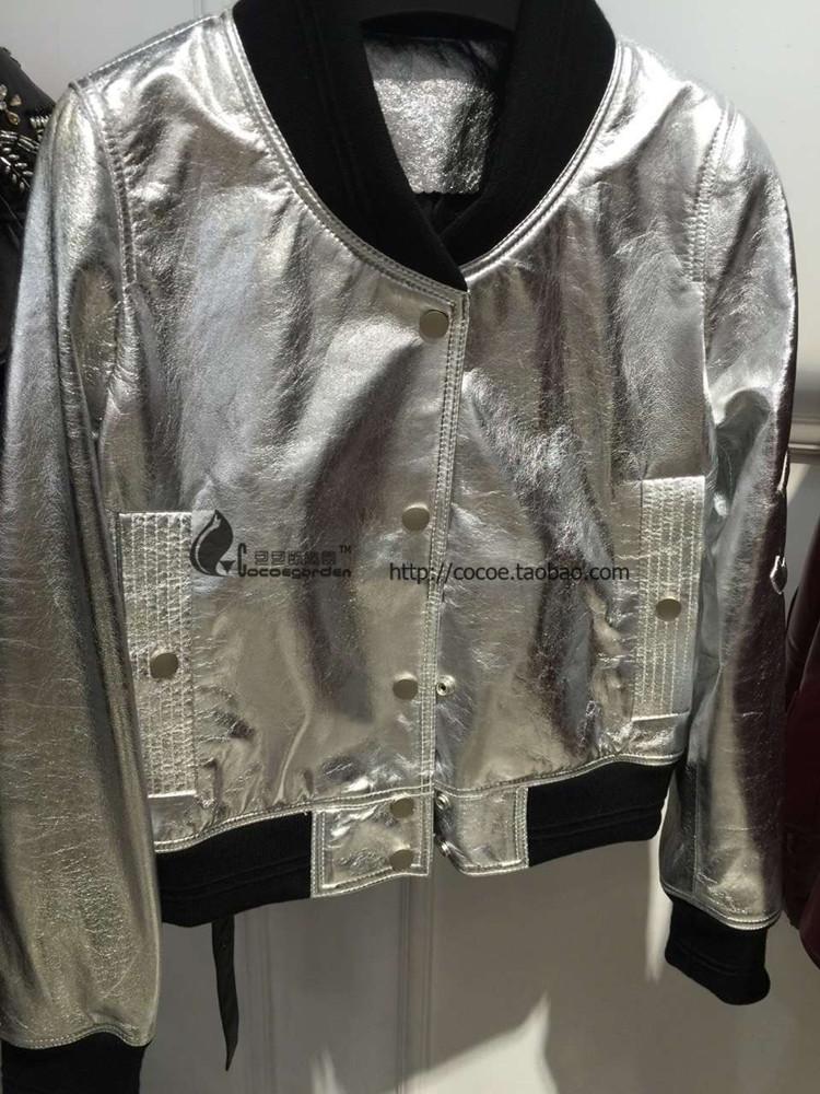 16 новые блестящие серебряные кожа кожа бейсбол равномерное дамы обрезанные кожаные куртки высококачественных импортированных овец кожи