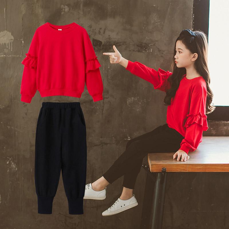 超洋气女童春秋套装2019新款时尚运动潮衣中大童装韩版儿童两件套