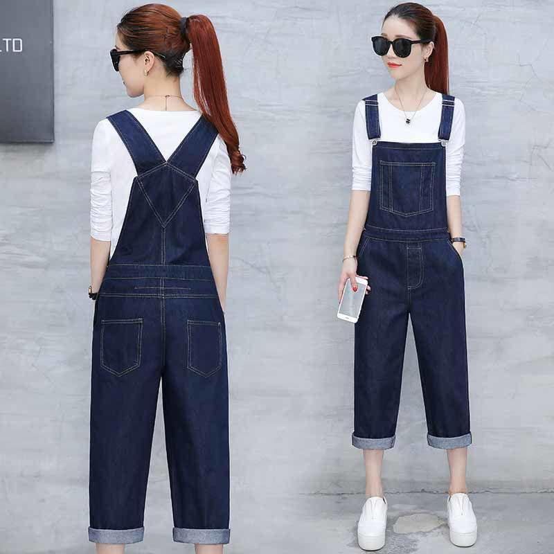 Jeans womens size 24 summer new age reducing strap Korean Capris casual loose straight suspender Jumpsuit