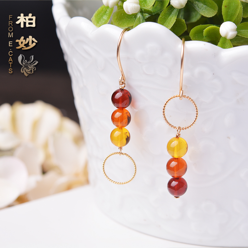 e. Cats natural amber rainbow asymmetric 14K Gold injection womens EARRINGS HANDMADE EARRINGS accessories