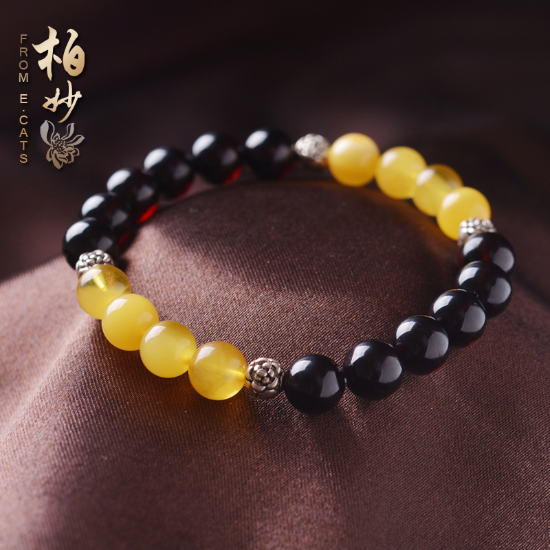 e. Identification certificate of cats natural amber, blood, yellow honey wax womens single circle hand String Bracelet Jewelry
