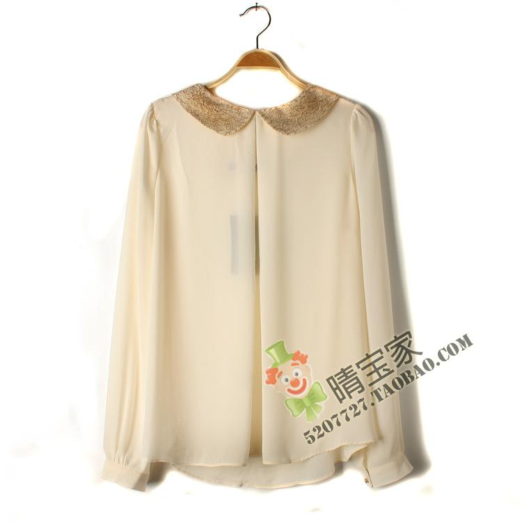 Special clearance autumn and winter sun girl Peter Pan baby collar loose large Long Sleeve Chiffon Shirt Top Black Beige