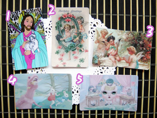 Japanese Harajuku ZIPPER ROWKY Jesus Notre Dame angel fairy tale character card stickers