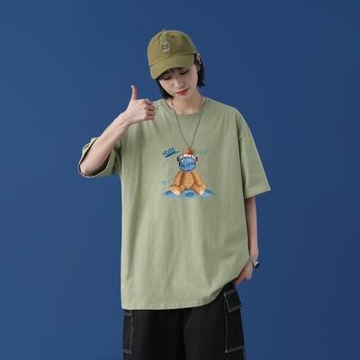 T1630P25中性宇航员熊印花圆领T恤男蓝墙女模港风男士宽松T恤