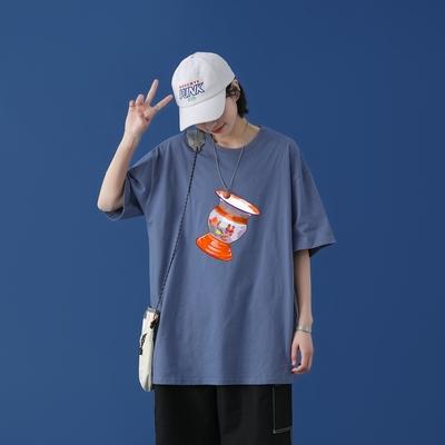 T1682P25 / 2021新款国潮嘻哈印花T恤男潮牌宽松百搭T