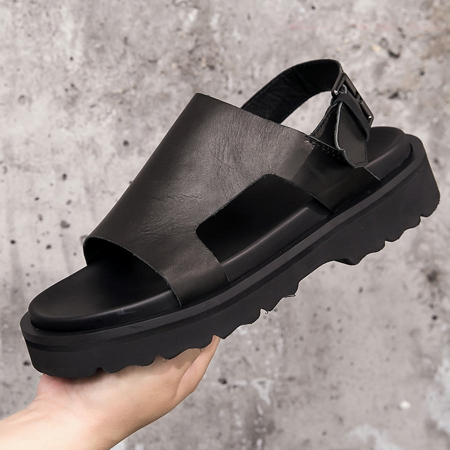 软底男凉鞋新款真皮凉鞋男韩版个性牛皮罗马凉鞋 CY06-6