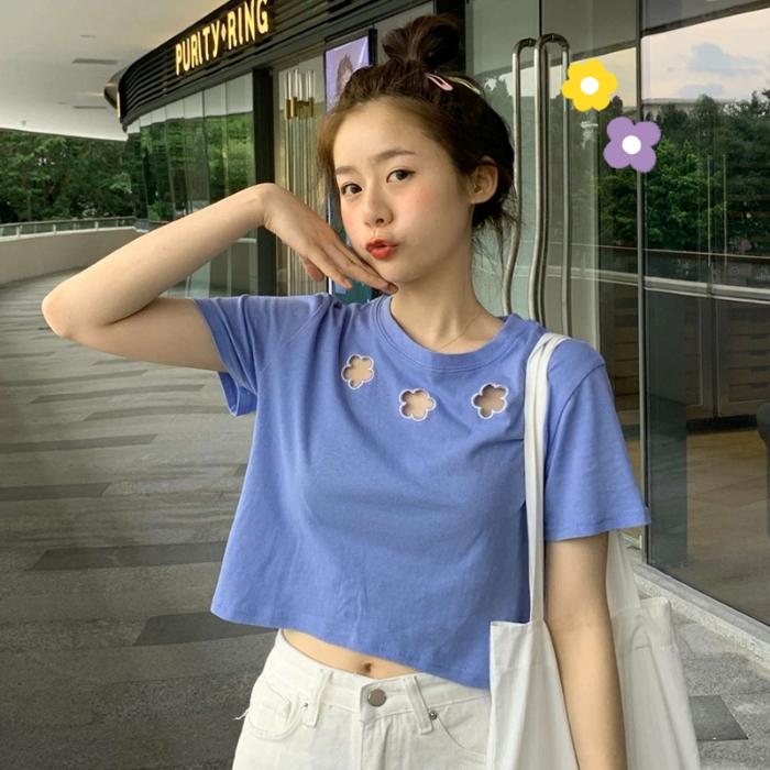 牛奶t恤女小众设计感短袖女2020新款半袖短款上衣