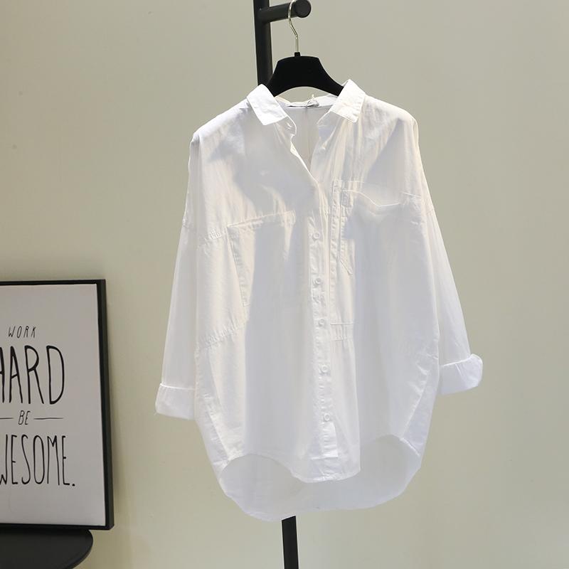 双口袋前短后长白色棉衬衫女2020春韩版宽松文艺bf风休闲衬衣潮