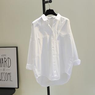 双口袋前短后长白色棉衬衫女2020秋韩版宽松文艺bf风休闲衬衣潮