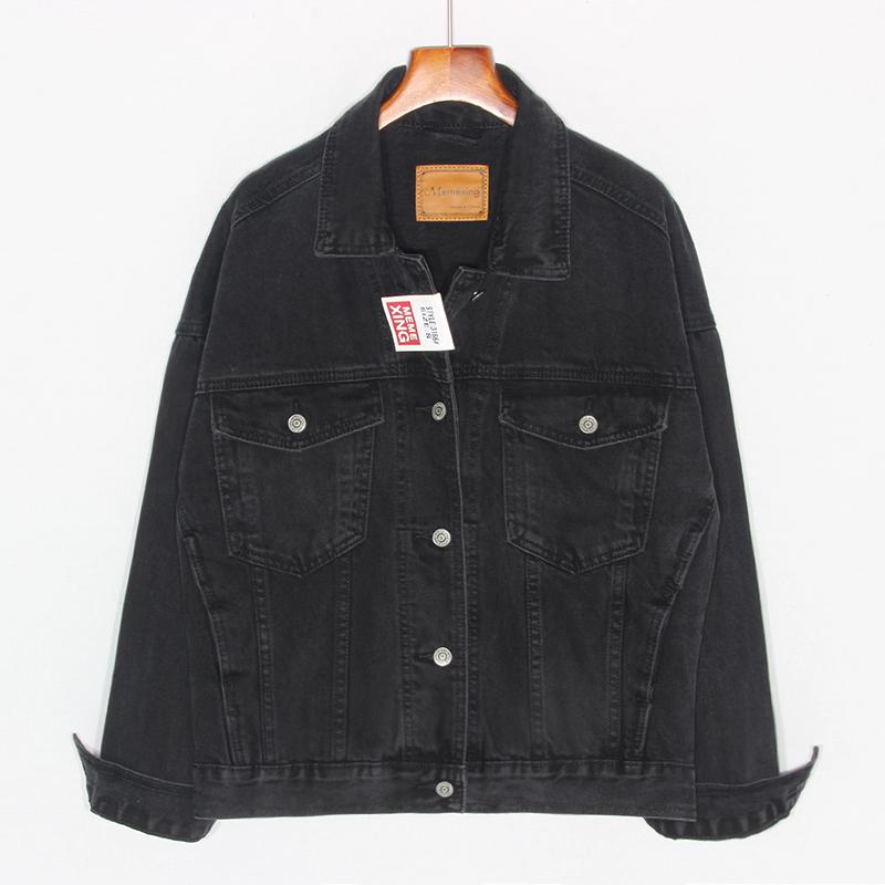 2019 autumn new Hong Kong flavor black denim short jacket women loose wild retro learning