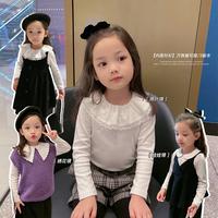 辰辰妈女童装洋气娃娃领白色打底衫长袖T恤春秋儿童宝宝上衣小衫