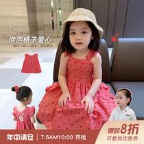 辰辰妈女童装夏季儿童泡泡格子爱心洋气套装女宝宝吊带背心连衣裙
