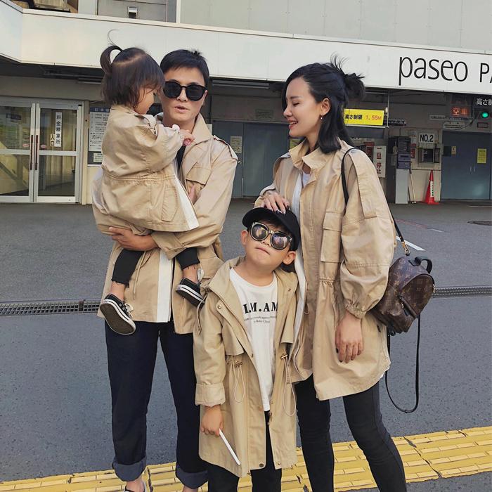 辰辰妈一家三口秋装亲子装外套 母女装父子全家装中长款卡其风衣