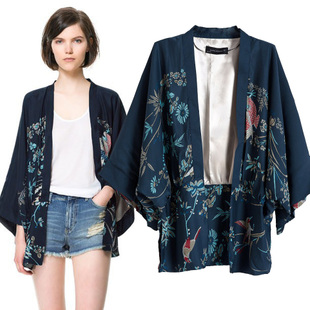 Fall 2014 new European and American Slim phoenix kimono prints without buckle Ms bat sleeve kimono coat female