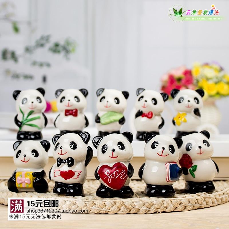 可愛小熊貓家居裝飾小擺件小飾品 時尚創意電視櫃迷你陶瓷工藝品
