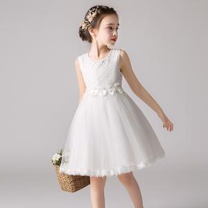 公主裙女童超仙夏季儿童生日蓬蓬纱裙白色洋气花童婚礼小女孩礼服