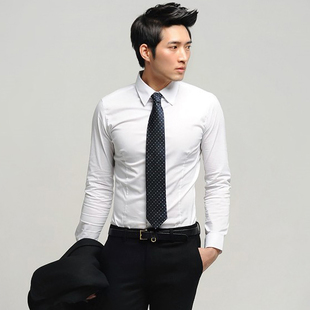 2015 new men Korean version of three dimensional white long sleeved shirt Slim pointed collar fashion casual shirt