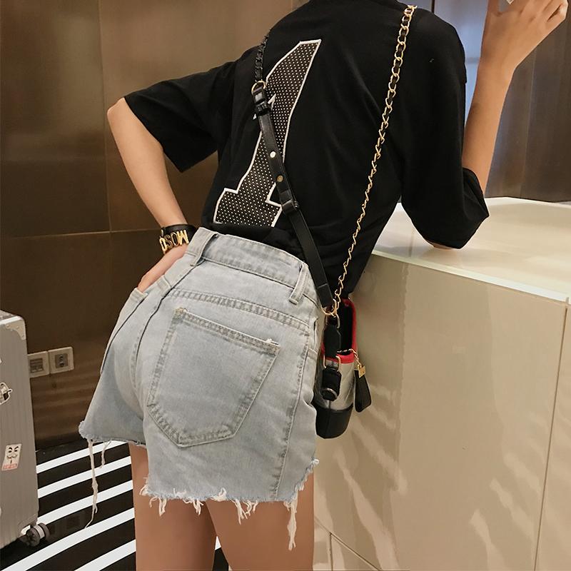 宋正恩高腰牛仔短裤女夏季2019新款韩版学生宽松显瘦阔腿毛边热裤(非品牌)