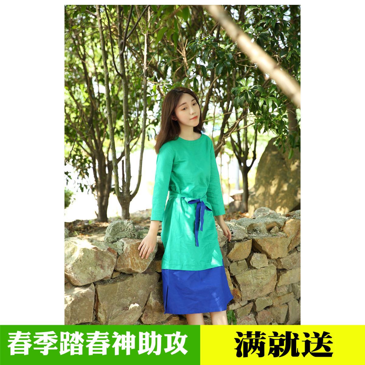 忘城 绽放同系列新品棉麻女装 亚麻撞色复古连衣裙 系带中长裙