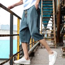 男裤子韩版潮流5分7分裤六五分七分半截麻布麻料亚麻棉麻宽松短裤