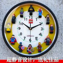 原创兼容乐高12寸圆形立体人仔积木挂钟房间墙面装饰挂表静音时钟