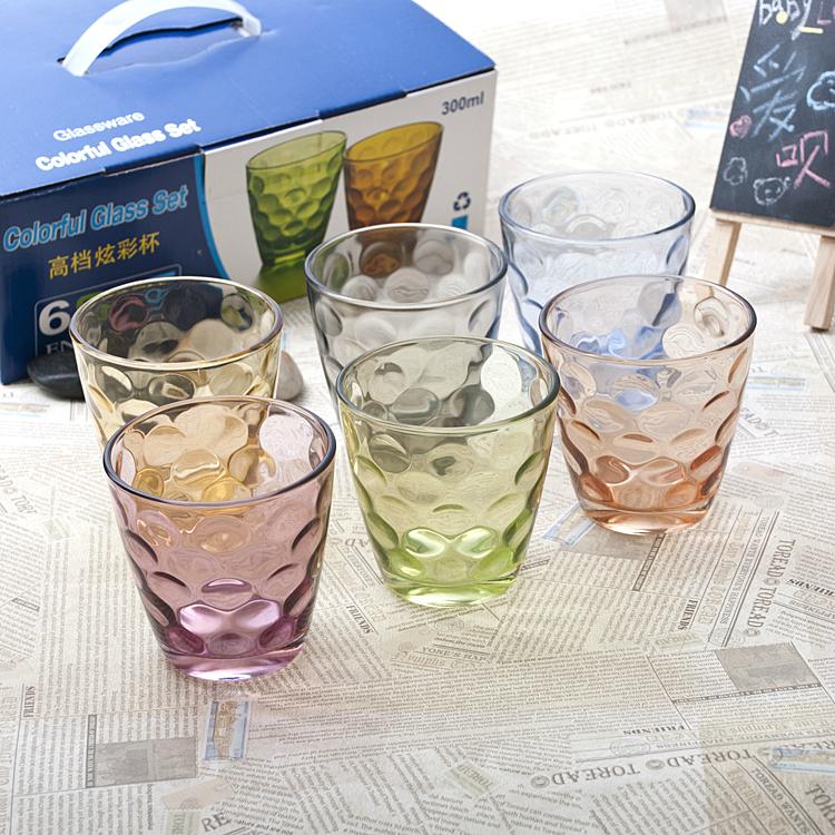 出口時尚炫彩色玻璃杯加厚耐熱水杯果汁杯創意水晶杯子酒盃泡茶杯