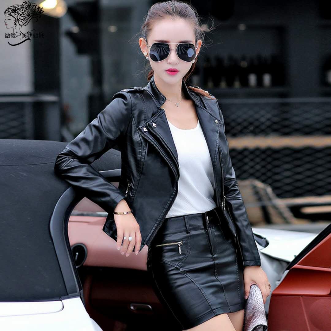 皮衣外套女短款2021秋新款韩版加厚机车皮夹克修身显瘦小个子套装