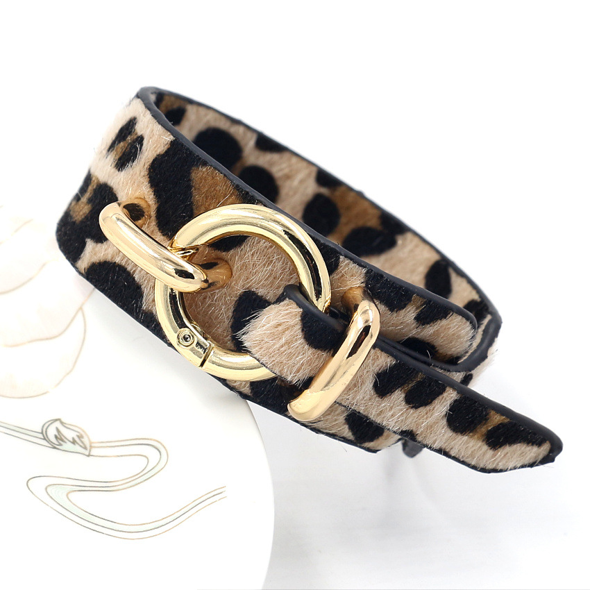 European and American exaggerated personality retro horsehair leopard leather wide Bracelet Wristband female fashion jewelry decorative Bracelet