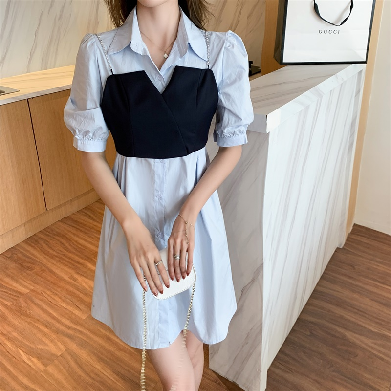 气质裙子夏天新品2021洋气法式连衣裙外搭吊带两件套A字裙假两件