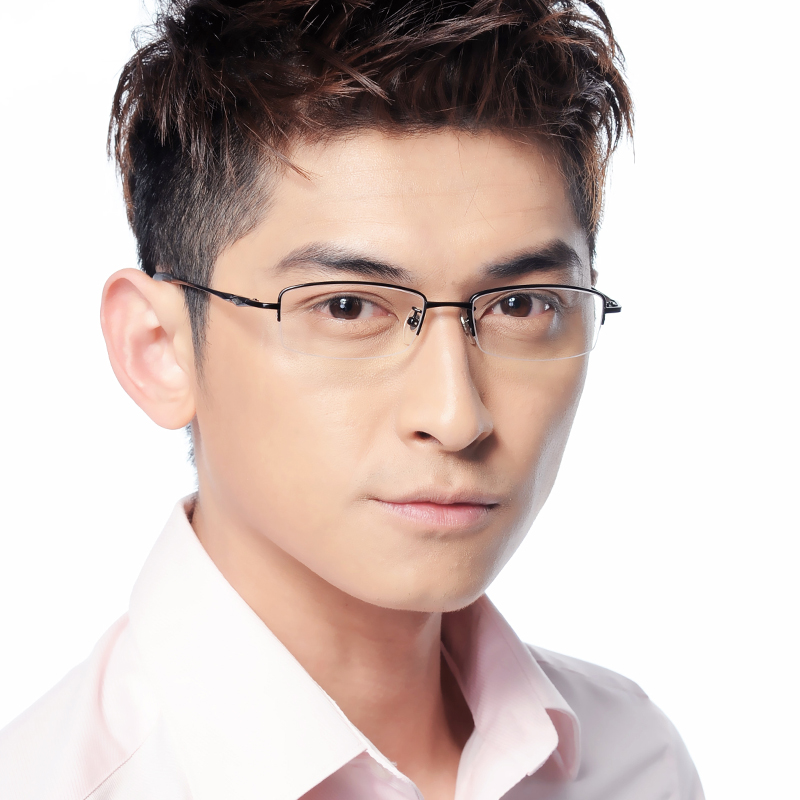 百微 纯钛眼镜框架 近视眼镜男款 半框眼镜框 配眼镜 大中小框 潮