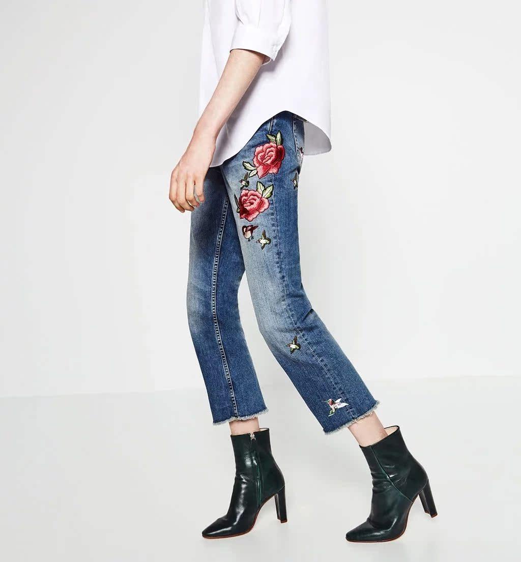 Заказы испании! европа и девять большая птица вышивки роз джинсы брюки женщин